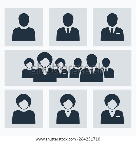 Business people vector icons set. - stock vector