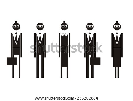 Business people. Vector silhouettes. - stock vector