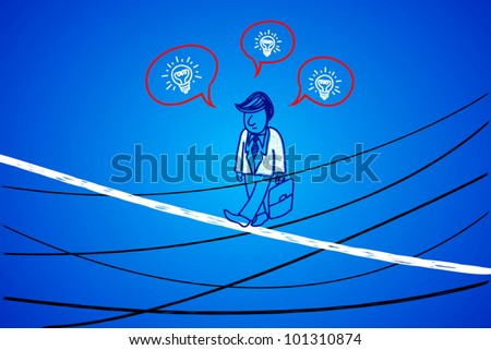 Business people walking on the yarn. The walk along the high-risk business. - stock vector
