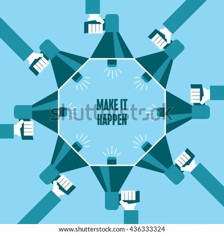 Business people with a megaphone yelling, Make It Happen - illustration - stock vector