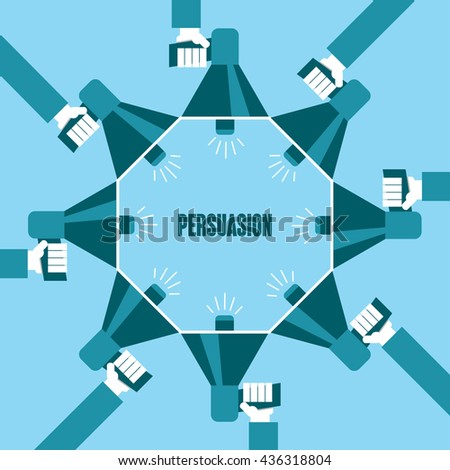 Business people with a megaphone yelling, Persuasion - illustration - stock vector