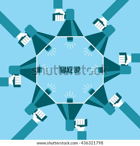 Business people with a megaphone yelling, Wake Up  - illustration - stock vector