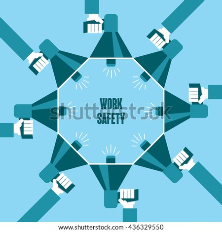Business people with a megaphone yelling, Work Safety - illustration - stock vector