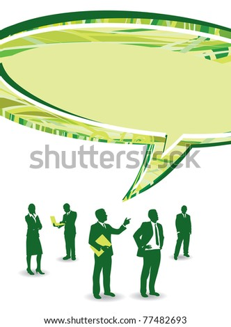 business people with an abstract speech bubble