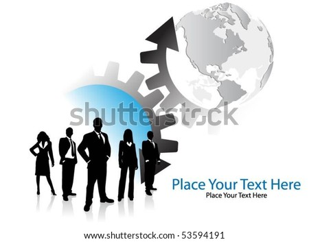 business people with arrows and globe - stock vector