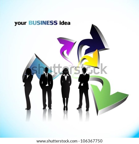 Business people with arrows background - stock vector