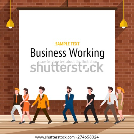 Business people with brick wall on the background. - stock vector