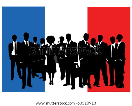 Business people with flag