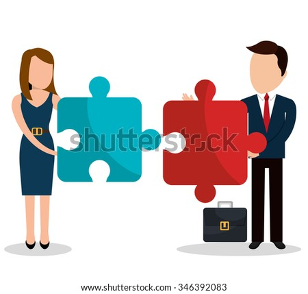 Business people with icons graphic design, vector illustration eps10
