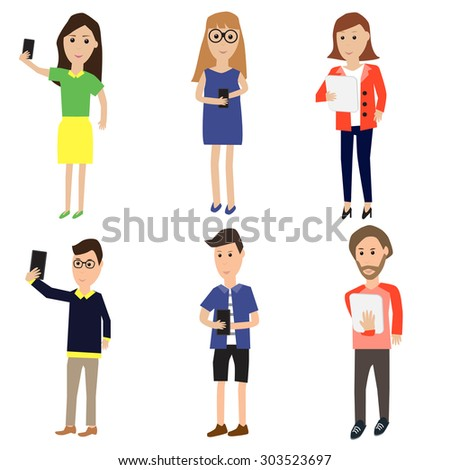 Business people with smartphone selfie and  tablet vector. illustration EPS10.