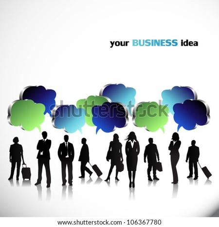 Business people with speech bubbles - stock vector