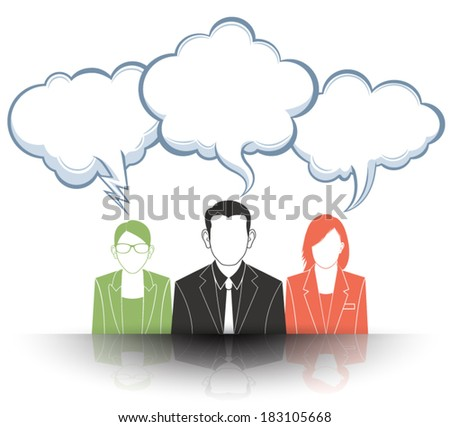 Business people with speech bubbles. - stock vector