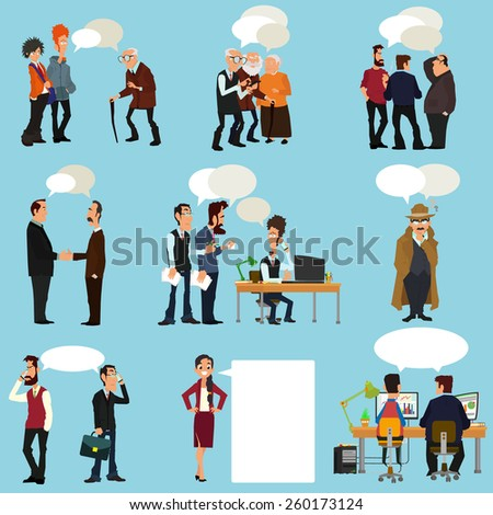 Business People With Speech Bubbles - Isolated On blue Background - Vector Illustration, Graphic Design Editable For Your Design. - stock vector