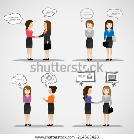 Business People With Speech Bubbles - Isolated On Gray Background - Vector Illustration, Graphic Design Editable For Your Design   - stock vector