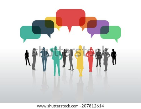 Business people with speech bubbles on grey background