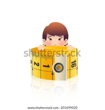Business people with tape measure. Vector design. - stock vector