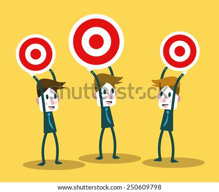 Business people with target deference size. competition concept. vector illustration - stock vector