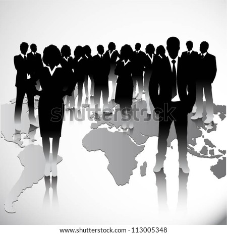 Business people with world map background