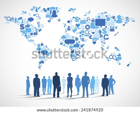 Business People with World Social Media Map - stock vector