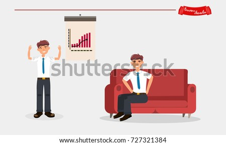 Business people working in office. Presentation. Character vector design.