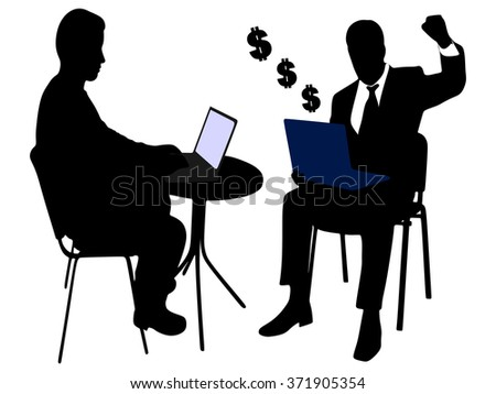 business people working on laptop - stock vector
