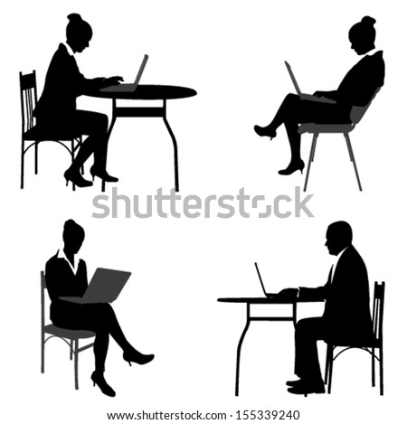 business people working on their laptops silhouettes - stock vector