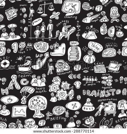 Business people working seamless pattern black and white. Seamless pattern with creative people and work objects and icons. Black and white vector illustration.
