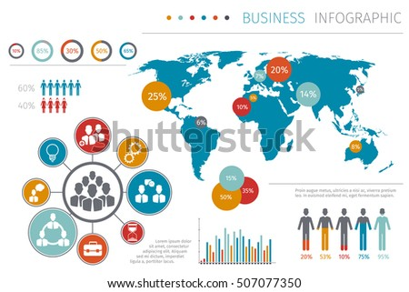 Business People World Map Infographic Vector Stock Vector