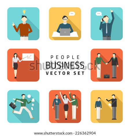 Business peoples flat vector illustrations, purchasing work, contract, agreement,  business concept. - stock vector