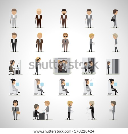 Business Peoples In Different Situation Set - Isolated On Gray Background - Vector Illustration, Graphic Design Editable For Your Design. Team Working In Office. - stock vector