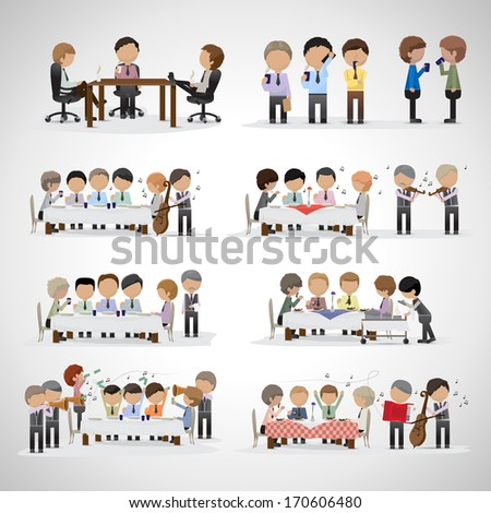 Business Peoples In Office And In The Restaurant With Musicians - Isolated On Gray Background - Vector Illustration, Graphic Design Editable For Your Design - stock vector