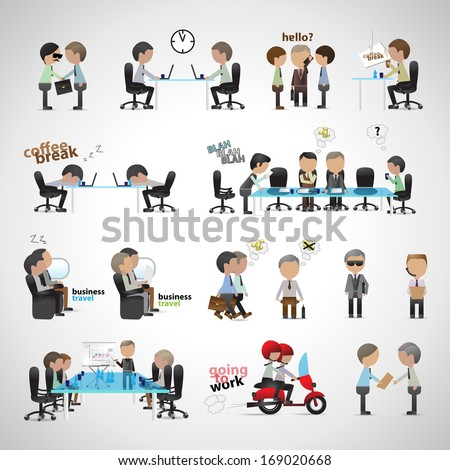 Business Peoples - Isolated On Gray Background - Vector Illustration, Graphic Design Editable For Your Design. Team Working In Office. - stock vector