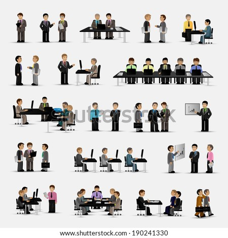 Business Peoples - Isolated On Gray Background - Vector Illustration, Graphic Design Editable For Your Design - stock vector