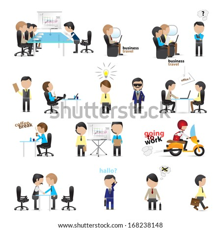 Business Peoples - Isolated On White Background - Vector Illustration, Graphic Design Editable For Your Design - stock vector
