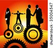 business peoples on the cogwheel - stock vector