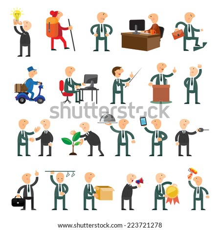 Business peoples set of icons flat design - stock vector