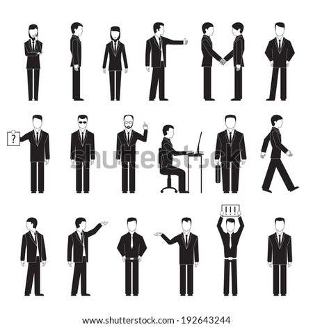 Business peoples silhouettes in different poses: standing sitting at table and talking. Vector eps10 illustration - stock vector