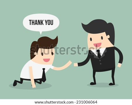 Business person helping another - stock vector