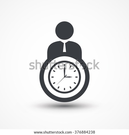 Business person with clock  time management flat icon - stock vector