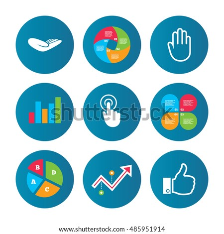 Business pie chart. Growth curve. Presentation buttons. Hand icons. Like thumb up symbol. Click here press sign. Helping donation hand. Data analysis. Vector