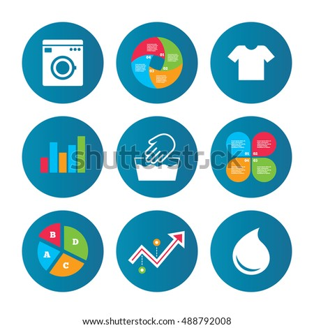 Business Pie Chart Growth Curve Presentation Buttons Wash Machine Icon Hand