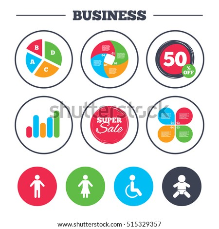 Business pie chart. Growth graph. WC toilet icons. Human male or female signs. Baby infant or toddler. Disabled handicapped invalid symbol. Super sale and discount buttons. Vector