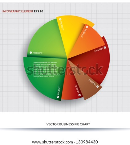 Business pie chart  Paper Info graphics. For documents and reports. - stock vector