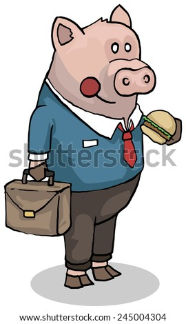 Business pig, character in a suit, vector illustration - stock vector