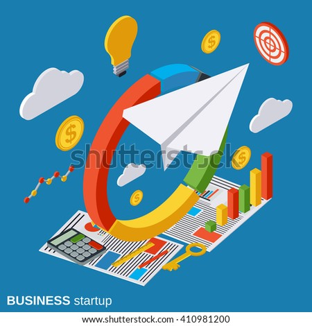 Business plan, innovation, startup, portfolio flat isometric vector concept