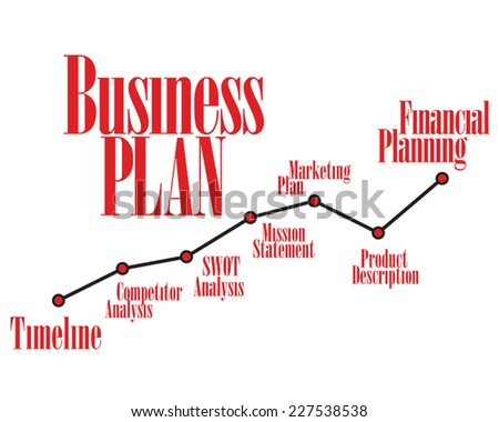 Business plan red timeline and dark color chart - stock vector