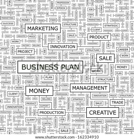 BUSINESS PLAN. Seamless pattern. Word cloud illustration. Vector illustration. - stock vector