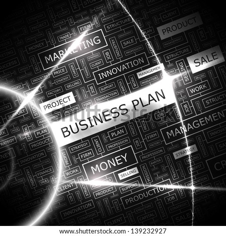 BUSINESS PLAN. Word cloud concept illustration.