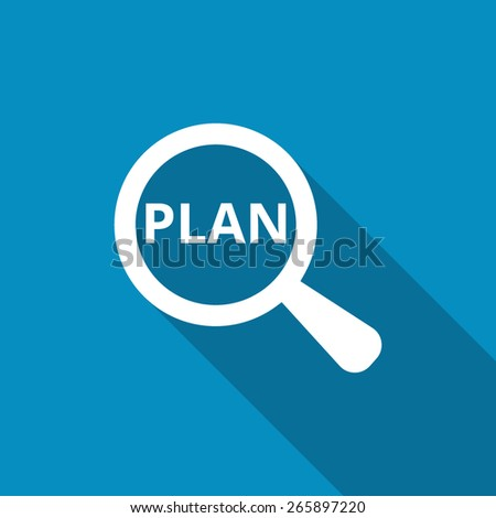 Business Plan. Word plan through a magnifying glass. Icon - stock vector