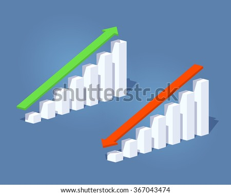 Business positive and negative graphs and arrows. 3D lowpoly isometric vector concept illustration